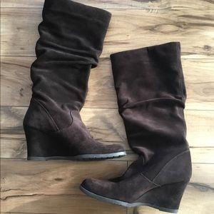Aldo Knee-High Wedge Heel Slouch Suede Boots, Sz 8